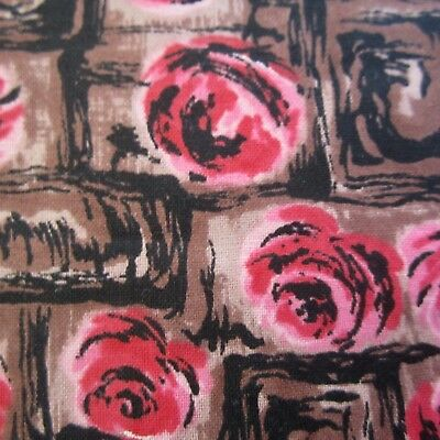 70cm x 92cm Vintage cotton fabric 1950s Pink roses In Brown boxes Novelty Floral
