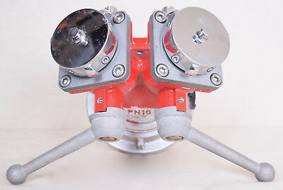 """PN 16 Fire Fighter 2 Way Valve 5"""" Locking Flange To 2 3"""" Fire Hose With Caps"""