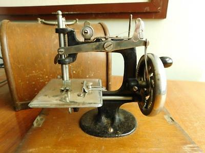 Antique Childs Sewing Machine in Wooden Dome Case 1900s Singer c1920s