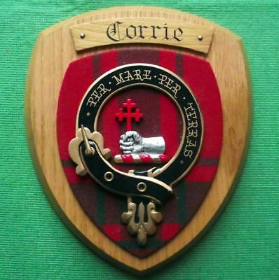 Vintage Scottish Hand Carved Oak Clan Corrie Tartan Plaque Crest Shield