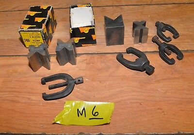 Brown & Sharpe No 599-749 V blocks & clamps in box plus extras machinists tools