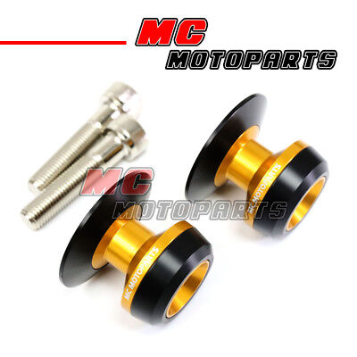 Gold Twall Racing M10 Swingarm Spools Sliders For Kawasaki ZX-10R Ninja 04-10