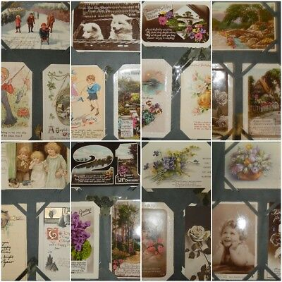 POSTCARD ALBUM Lot CHILDREN ANIMALS PORTRAITS QUEEN FAIRIES 111 CARDS Collection