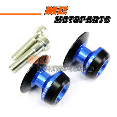 Blue Twall Racing M10 Swingarm Spools Sliders For Kawasaki NINJA 650R 05-12 13