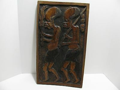 Hand Carved African Tribal Art - Heavy 3-D Wood Wall Plaque