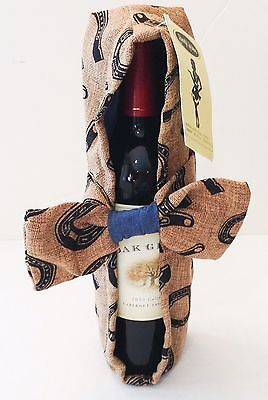 Wine Bottle Tote Carrier Holder Horse Western Gift New