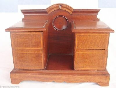 Antique Wood Jewelry Box Miniature Desk Chest Night Stand Pocket Watch (#4066)