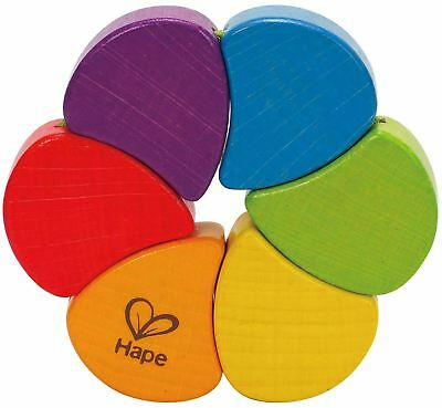 Hape RAINBOW RATTLE Wooden Toy/Gift Bright Colours Baby/Toddler/Child BN