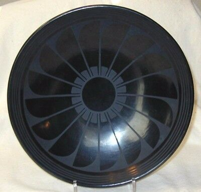 "Vintage San Ildefonso 12"" Black Feathers Plate Pottery Marie/Julian Martinez c33"