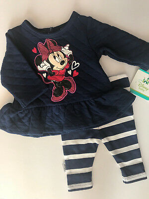 Disney Newborn 3 Months Minnie Mouse Dress Top & Leggings Set Baby Girl Clothes