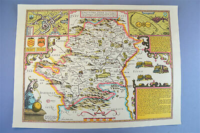 Vintage decorative sheet map of Hertfordshire John Speede 1610