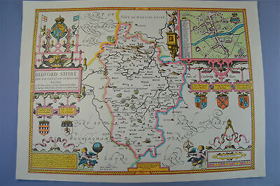 Vintage decorative sheet map of Bedfordshire Bedford John Speede 1610