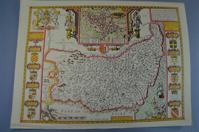 Vintage decorative sheet map of Suffolk Ipswich town plan John Speede 1610