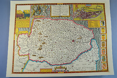 Vintage decorative sheet map of Norfolk Norwich town plan John Speede 1610