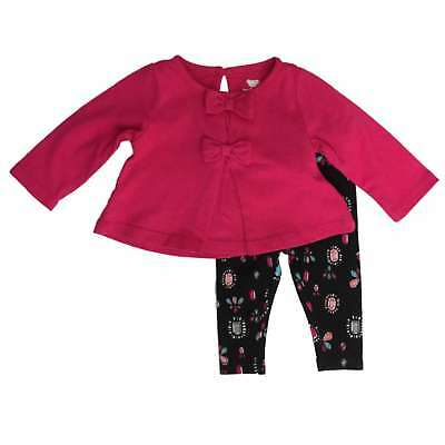 Infant Girls Pink Bows & Jewels Baby Outfit Shirt & Leggings Set
