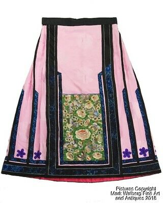 Chinese Womens Embroidered Pink Silk Skirt / Apron, Late 19/Early 20th C.