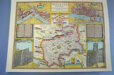 Vintage decorative sheet map of Middlesex London town plan John Speede 1610