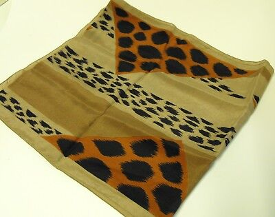 "Christian Dior 100% silk scarf Made in France 12"" x 52"" long Brown tones Leopard"