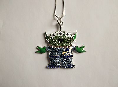 TOY STORY ALIEN Inspired Large Charm NECKLACE With Rhinestones