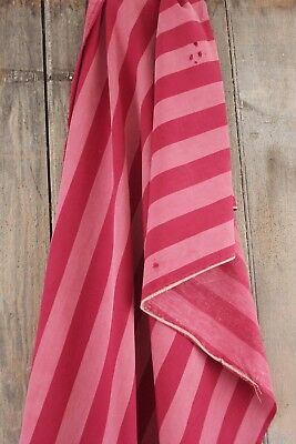 Mattress ticking tick Antique woven linen cotton French red pink stripe 31X57