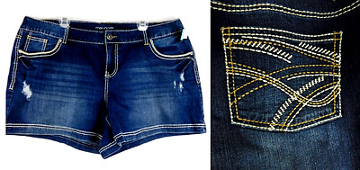 Maurices blue denim embroidered pockets torn stretch shorts 20