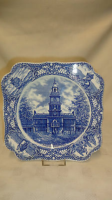 Rare & Collectable Crown Ducal Colonial Times Square Plate - Blue & White