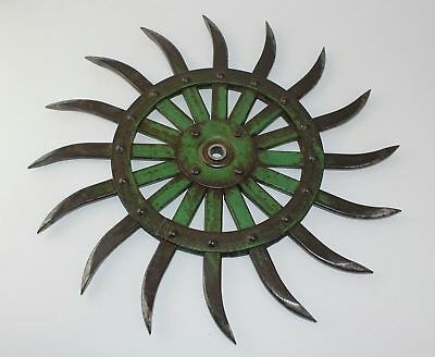 "OLD John Deere 19"" Steel Spike Wheel Rotary Hoe Industrial Steampunk Garden Art"