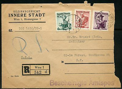 AUSTRIA VIENNA 1952 REGISTERED 542d  OFFICIALLY INSPECTED COVER TO WOODHAVEN NY