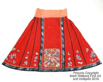 Chinese Embroidered Padded Red Silk Winter Paired Apron / Skirt, 19th Century