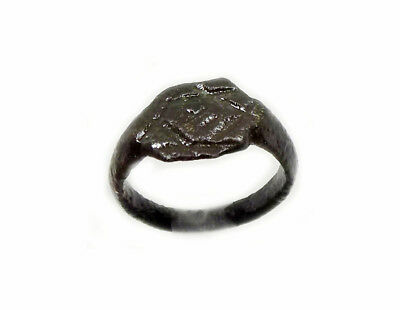 "Roman Ring ""Star of David"" Six-Sided + Symbols Sz6½ Engraved Ancient Syria AD400"