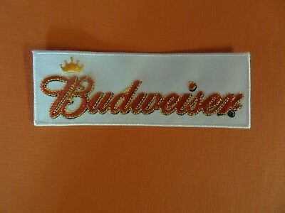 BUDWEISER BEER white & red   Embroidered 1-1/2 x 4-3/8 Iron On  Patch