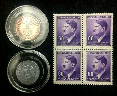 Authentic German WW2 Coins & Unused Purple Stamps - Antique Historical Artifacts