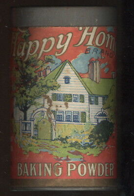 Old Happy Home Brand Baking Powder Tin, Paper Label, Wulfing Grocer, St. Louis