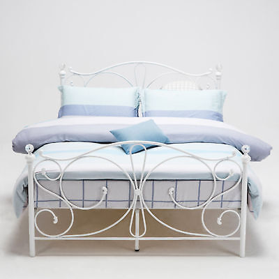 4ft, 4ft6 Double & 5ft King  White Metal Bed Frame With Crystal Finials