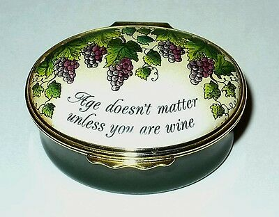 Halcyon Days Enamel Box- Gump's - Age Doesn't Matter Unless You're Wine - Grapes