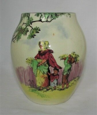 Vintage Royal Doulton Series Ware Bulbous Vase The Gleaners English Old Scenes