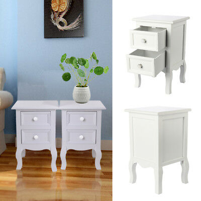 Pair Of Shabby Chic Bedside Table Unit Cabinet Nightstand 2 Drawer Storage New