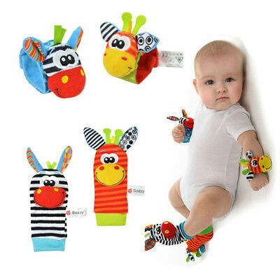 New Born Baby Rattle Set Sensory Toys Foot-finder Socks Wrist Rattles Bracelet