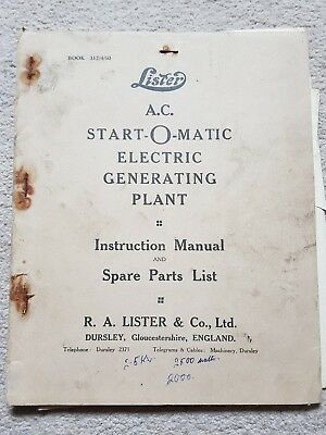 Lister Ac Start-O-Matic Electric Generating Plant Parts & Operators Manual