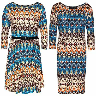 Kids Girls Skater Dress Aztec Foil Print Trendy Fashion Midi Dresses 7-13 Years