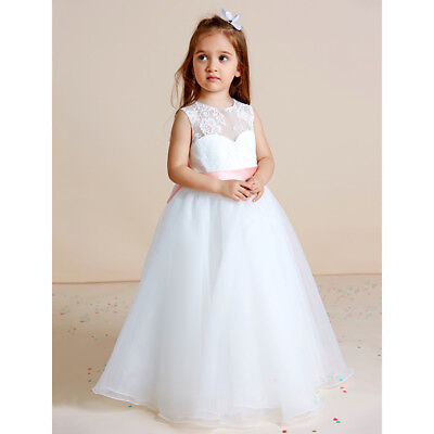 White Flower Girl Dresses Bridesmaid Formal Floral Petals Party First Communion