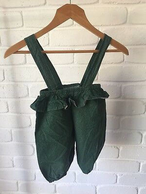 Vintage Baby Cotton Overalls Green White Polka Dot Jumpsuit Approx Size 1 - 1.5