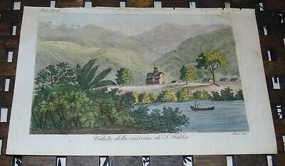 ANTIQUE Italy COPPER ENGRAVING Print 1828 FIDELIS MISSION South America 44A