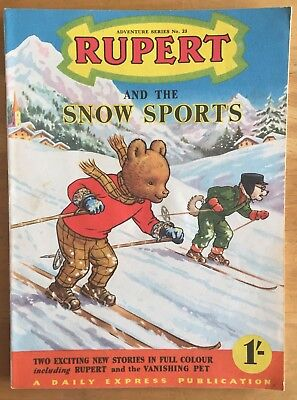RUPERT Adventure Series No 23 Rupert and the Snow Sports February 1955 FINE