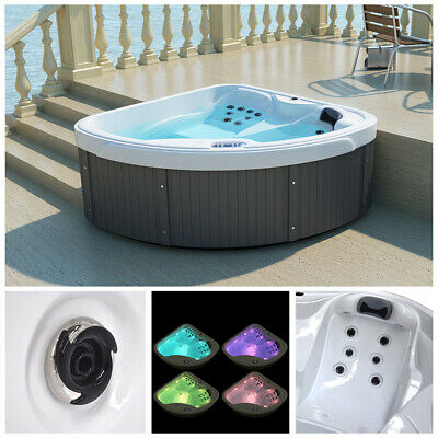HOME DELUXE Whirlpool Outdoor Aussenwhirlpool Hot Tub Spa Pool Abdeckung Treppe