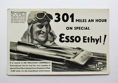 Esso Ethyl Advertising Post Card - Sir Malcolm Campbell's Land Speed Record #32