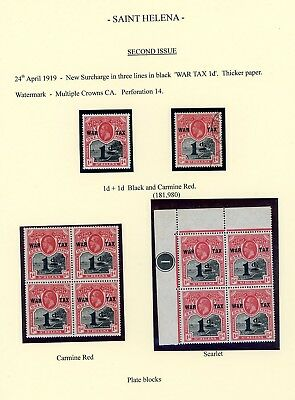 St Helena  1919  War Tax Issue  (10) including Plate Block  (F843)
