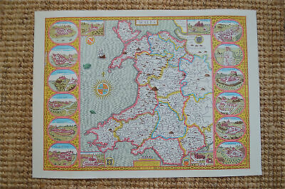 Vintage decorative sheet map of Wales John Speede 1610