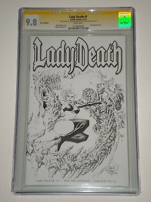 Lady death 1 (Feb 2014, Coffin) CGC 9.8 Signed and Sketched by Philip Tan