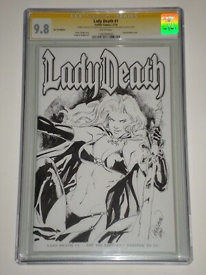 Lady death 1 (Feb 2014, Coffin) CGC 9.8 Signed and Sketched by Carlo Pagulayan